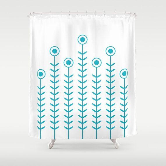 36 Colours Minimalist Flowers Shower Curtain Scandinavian Style