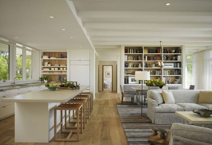 Inspiring Open Floor Plan Kitchen Dining Living Room Combined Design Outstanding White Bookshelf