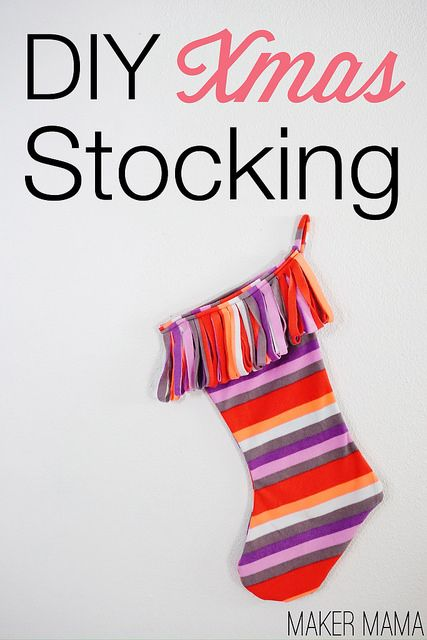 This Easy DIY Christmas Stocking Was Made From An Old Pair Of Fleece Pants.  You