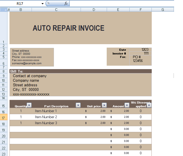 Auto Repair Invoice Template In Excel Format | ExcelTemple  Auto Shop Invoice Template