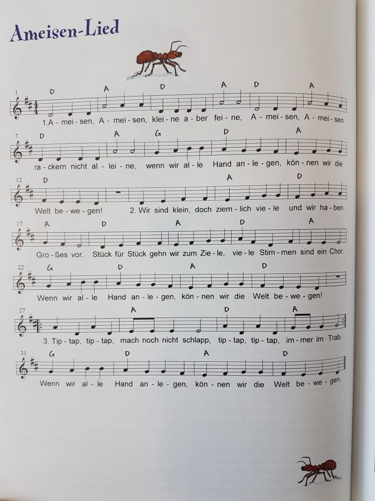 Ameisenlied Kindergarten Erzieher Kita Kinderlied Singen Noten Gitarrenakkorde Kinder Lied Kinderlieder Kindergarten Lieder