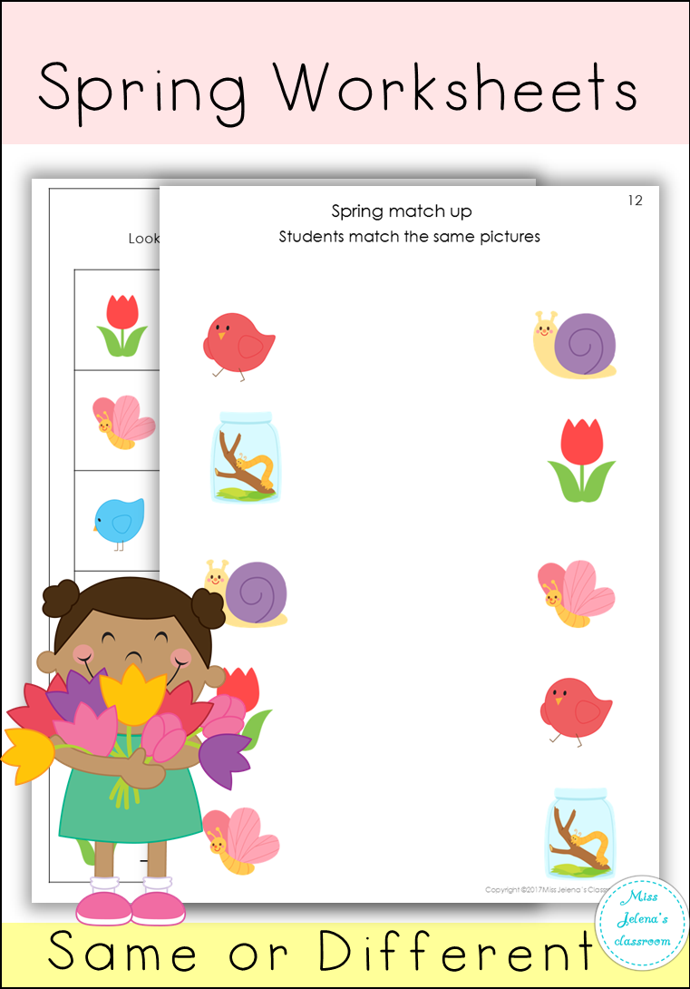 Spring Same Or Different Set Spring Worksheet Creative Teaching Preschool Learning [ 1090 x 761 Pixel ]