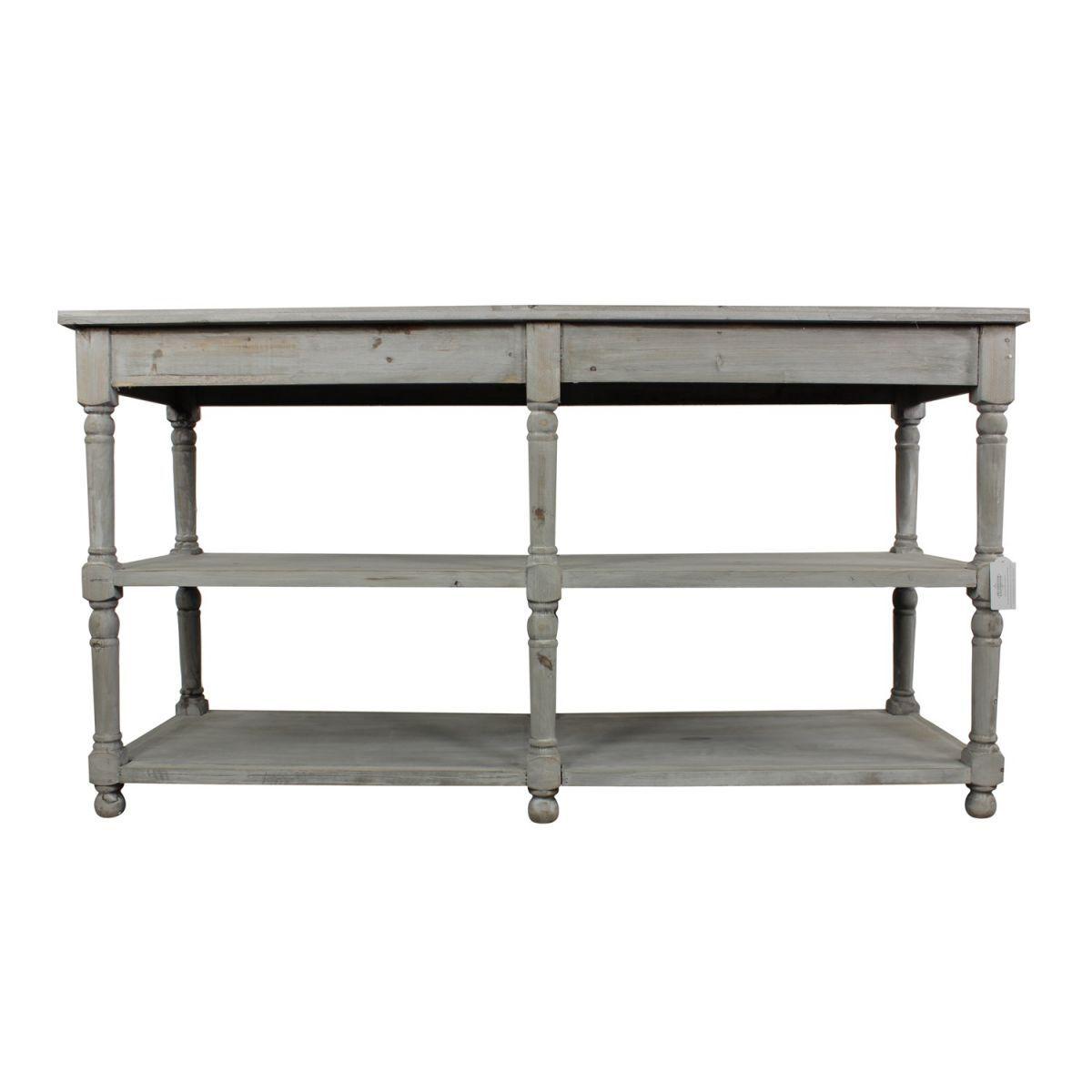 meuble console drapier bois ceruse blanc gris 162x54x87cm