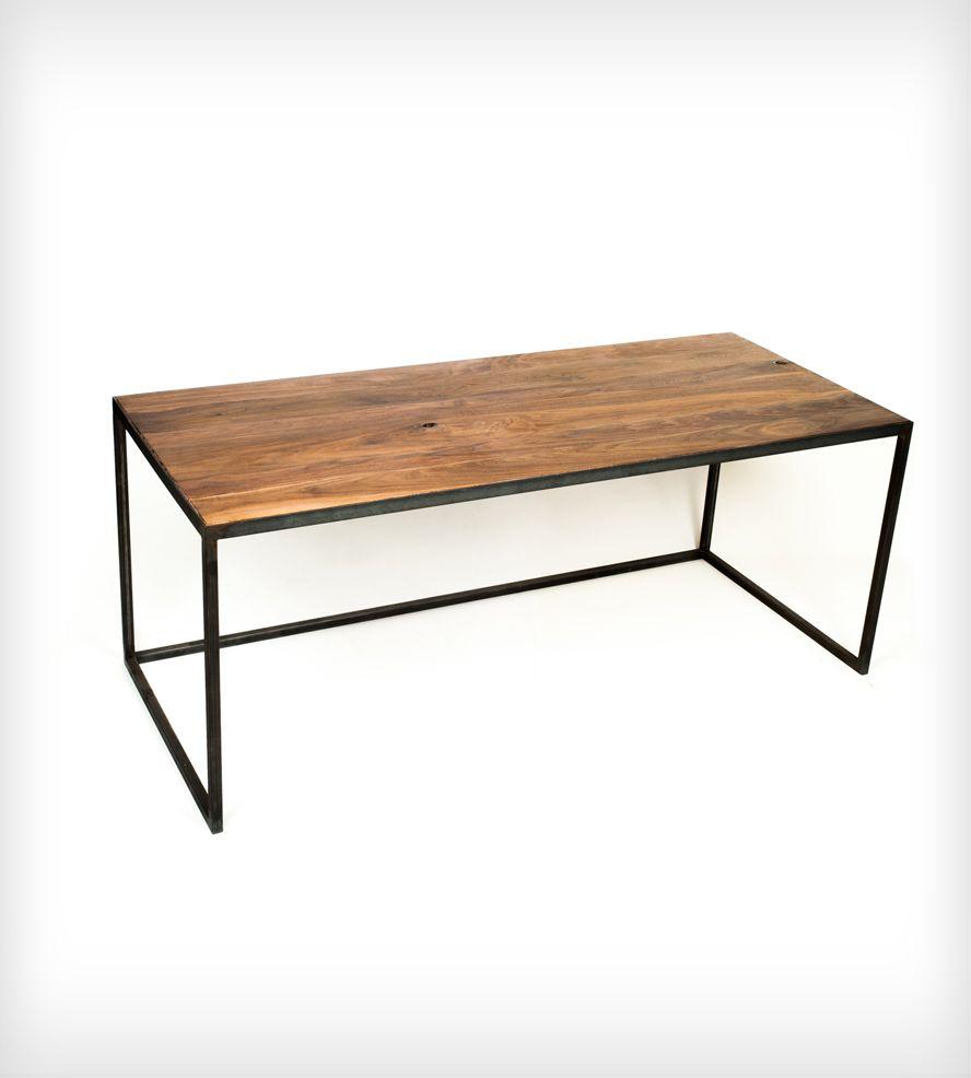long wood desk with industrial steel legs woodwork. Black Bedroom Furniture Sets. Home Design Ideas