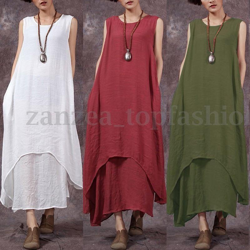 7535b2ffca3e2 ZANZEA Women Sleeveless Kaftan Loose Casual Retro Linen Long Tops Maxi Dress