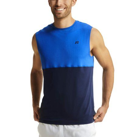 6be64c614b4bc0 Russell Mens Colorblock Performance Muscle Tank