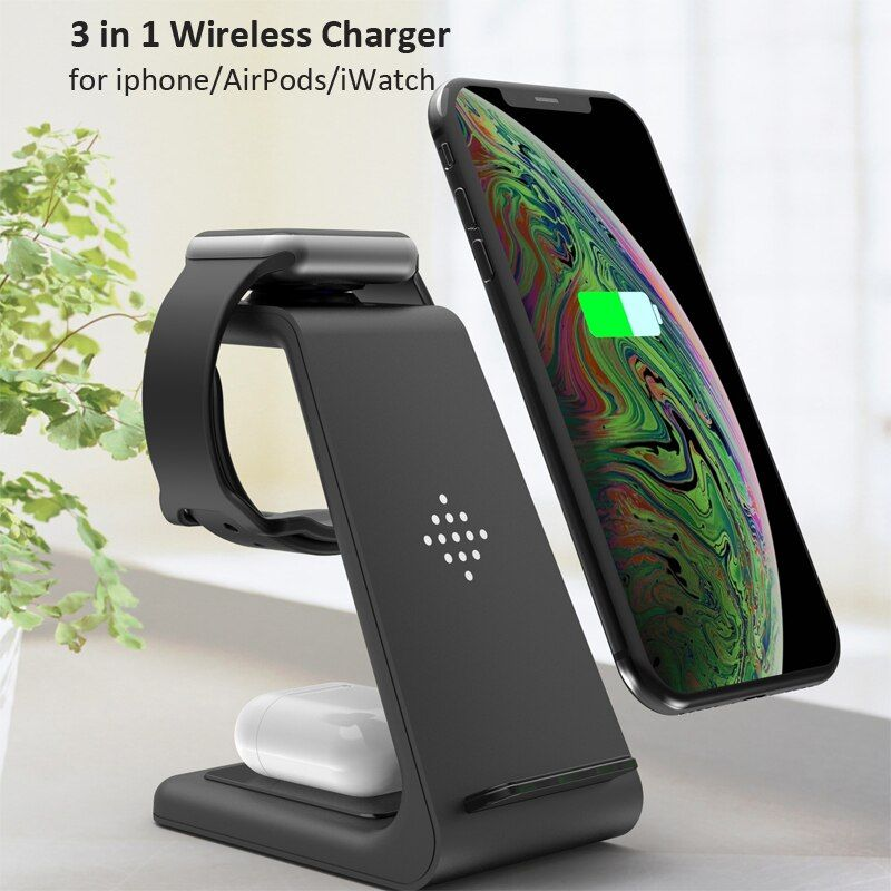 Best Deals 3 In 1 10w Fast Qi Wireless Charger For Iphone 11 Pro X Charger Dock Station For Apple Di 2020