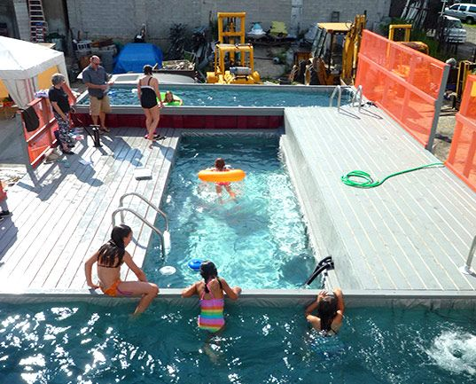 Dumpster dive literally into a guerrilla dumpster pool awesome guerrilla design project swimming pools in brooklyn made out of old dumpsters fandeluxe Gallery