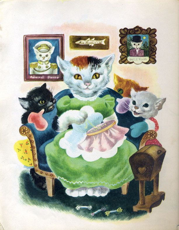 Wake Up Kitty Admiral Vintage Illustration Vintage Cat Little Golden Books