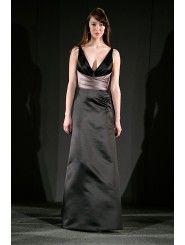 Satin V-neck Sash Wrap Floor-Length Bridesmaid Dress
