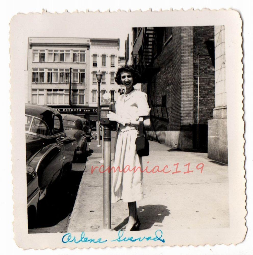 Vintage Photo GRAND Rapids MI Pretty Girls Old Michigan SEARS Parking Meter CAR
