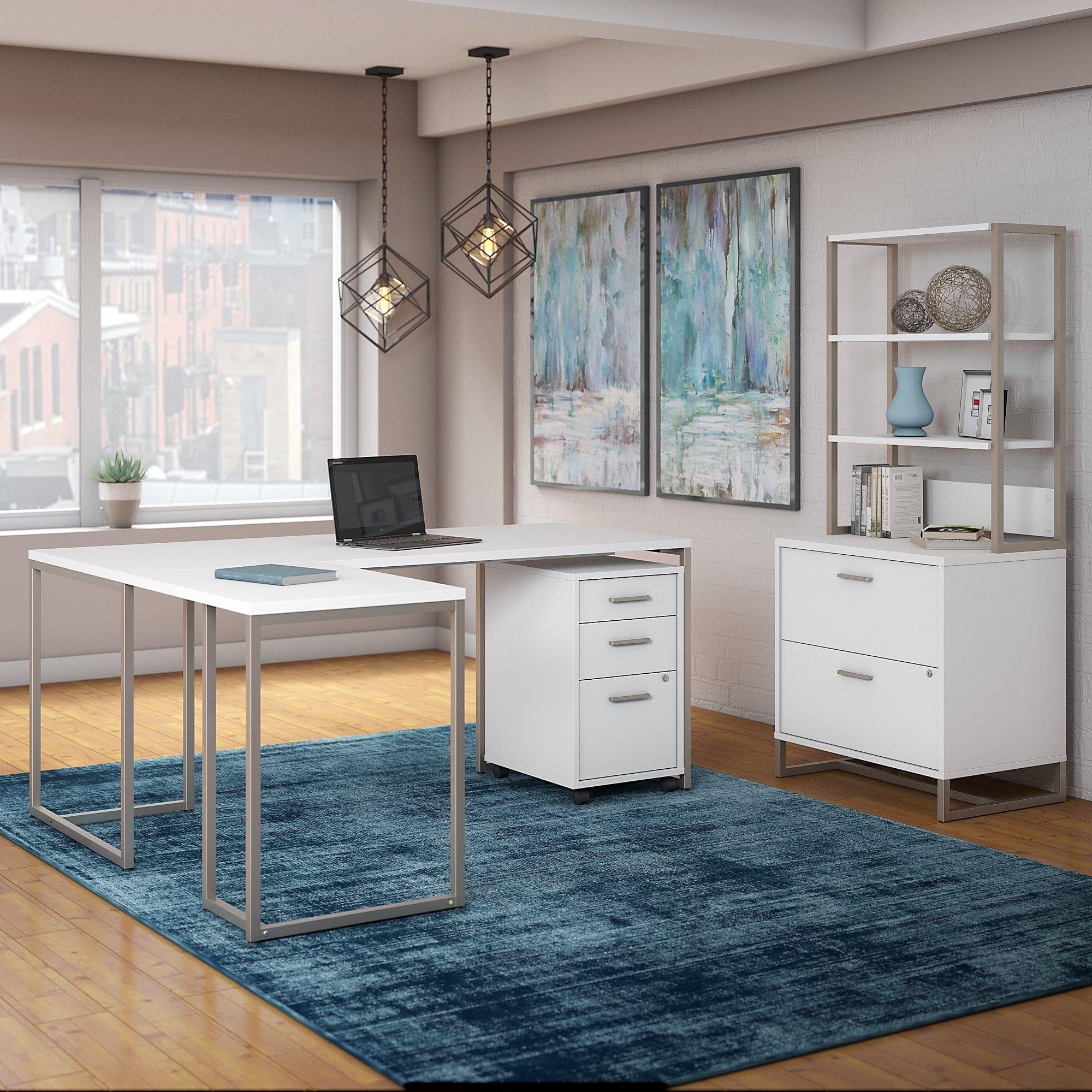 Bush Industries Office By Kathy Ireland Method 72w L Shaped Desk With 30w Return File