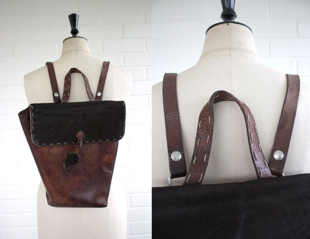 b7f7a218cafc Vintage 1940s Fiocchi Italy Leather and Cow Hide Bag. £30.00