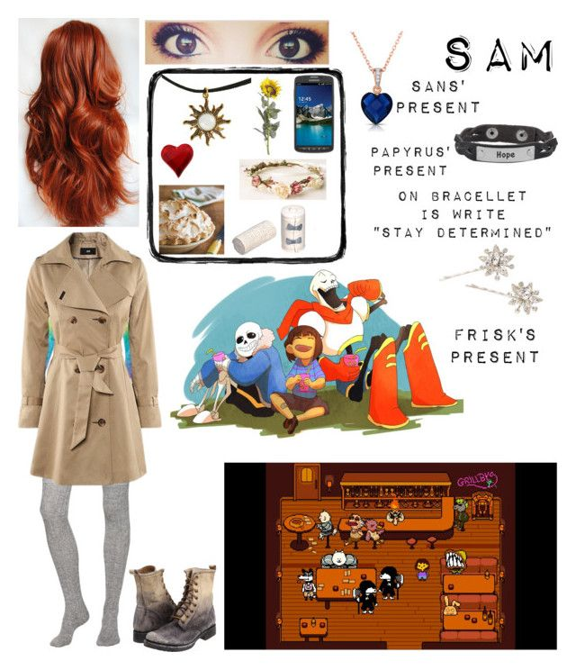 """Sam's birthday at Grillby's with Sans, Papyrus and Frisk"" by nebulaprime on Polyvore featuring beauty, INDIE HAIR, Samsung, Kate Spade, Current/Elliott, CO, Frye, Pier 1 Imports, Collette Z and Jennifer Behr"