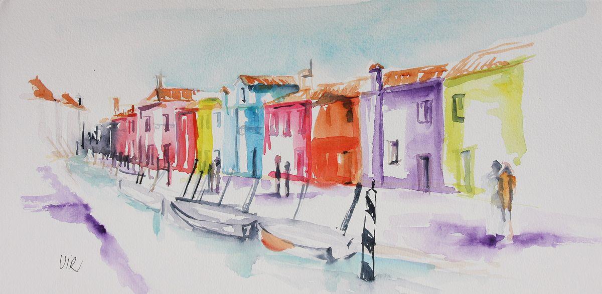Aquarelle Maisons Ile De Burano Venise Virginie Schroeder