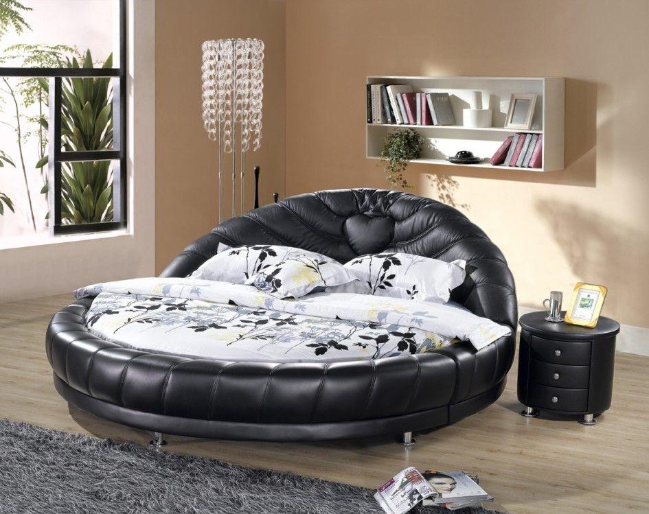 Bedroom, Impressive Contemporary Round Bed Laminate Wood