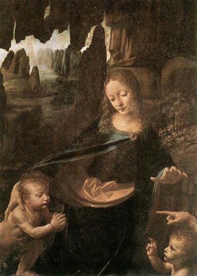 Leonard de Vinci, la Vierge au rocher, ( détail )