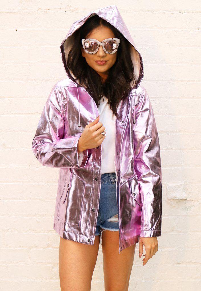 f2a8bb349 Phoenix PVC Metallic Hooded Raincoat Mac in Lilac | www ...