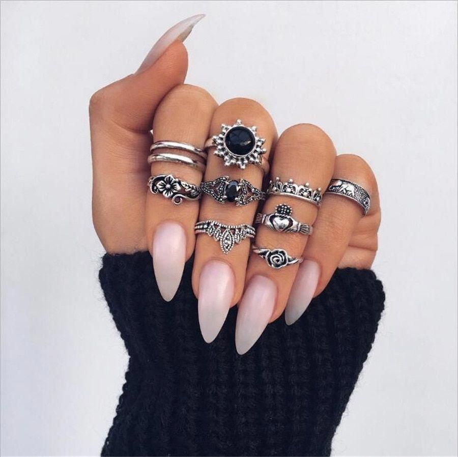 witch ring bohemian western rings festival jewelry stackable midi rings 13 pcs boho rings elephant knuckle rings set boho jewelry