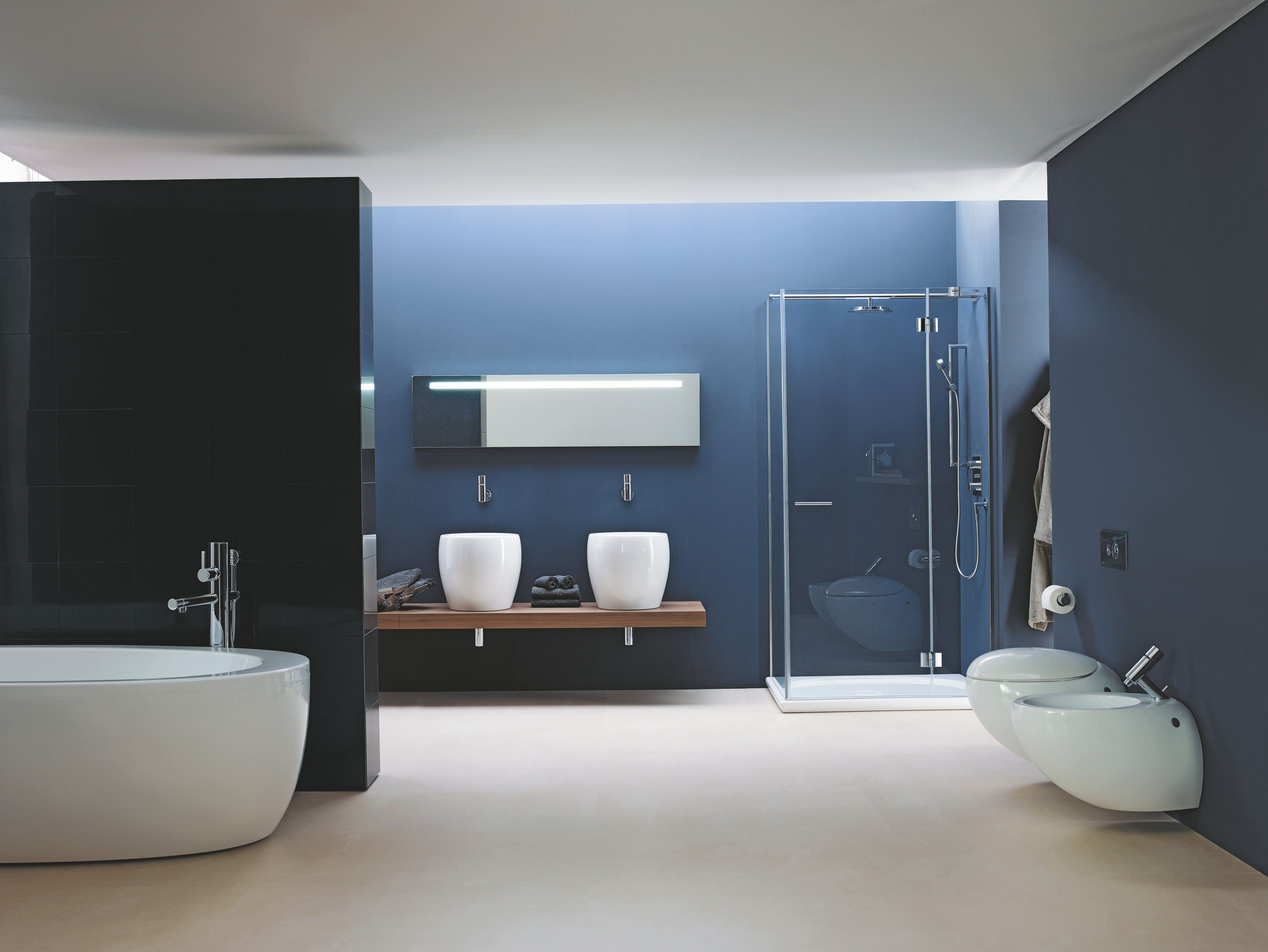 Bathroom : Black And Blue Toned Bathroom With Solid Floor And White ...