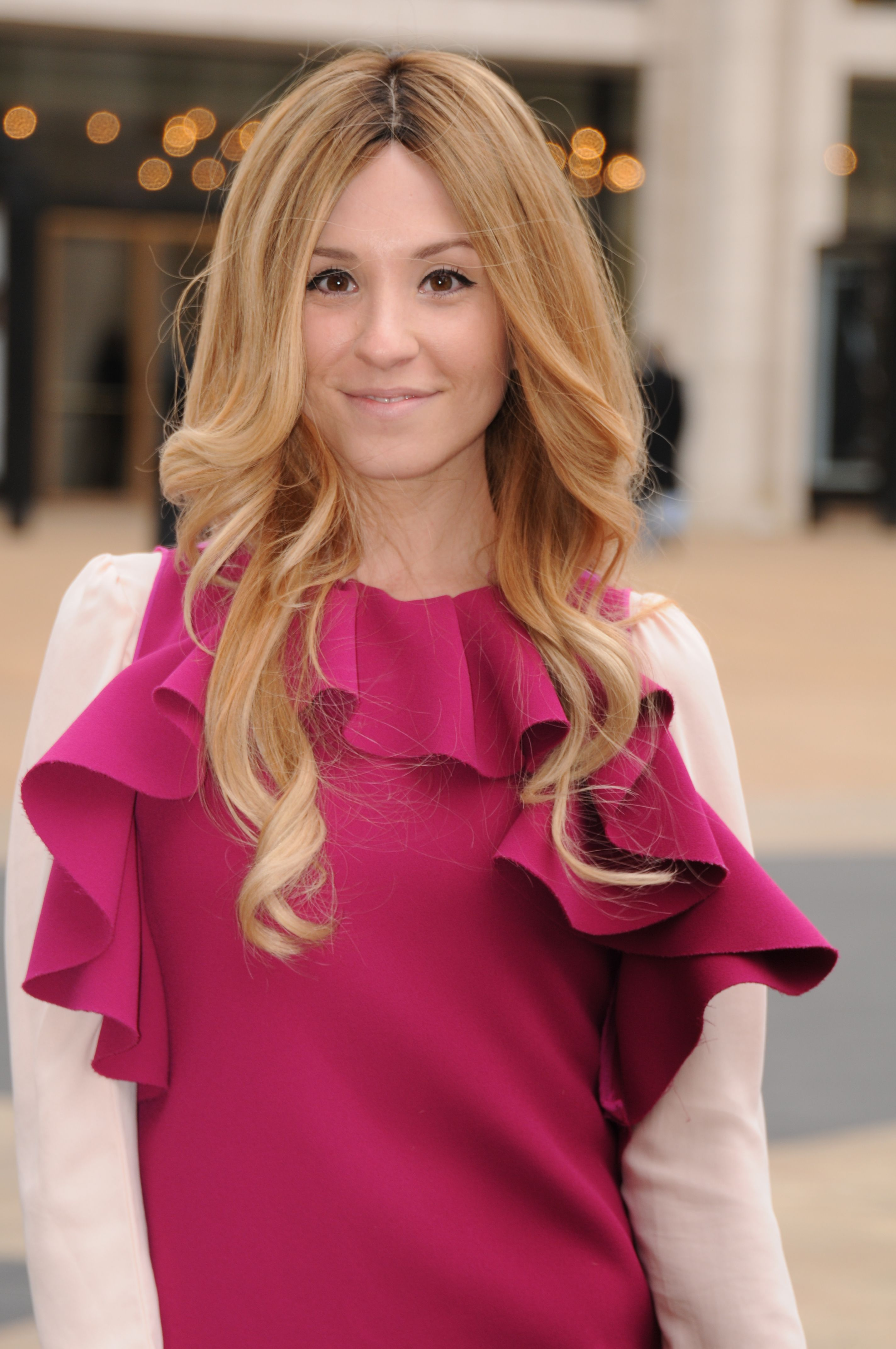 Vintage DVF Ruffle dress worn with a light pink silk blouse. This was outside Lincoln Center during February 2014 MBFW.