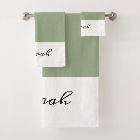 Elegant Sage Green Calligraphy Name Bath Towel Set ...