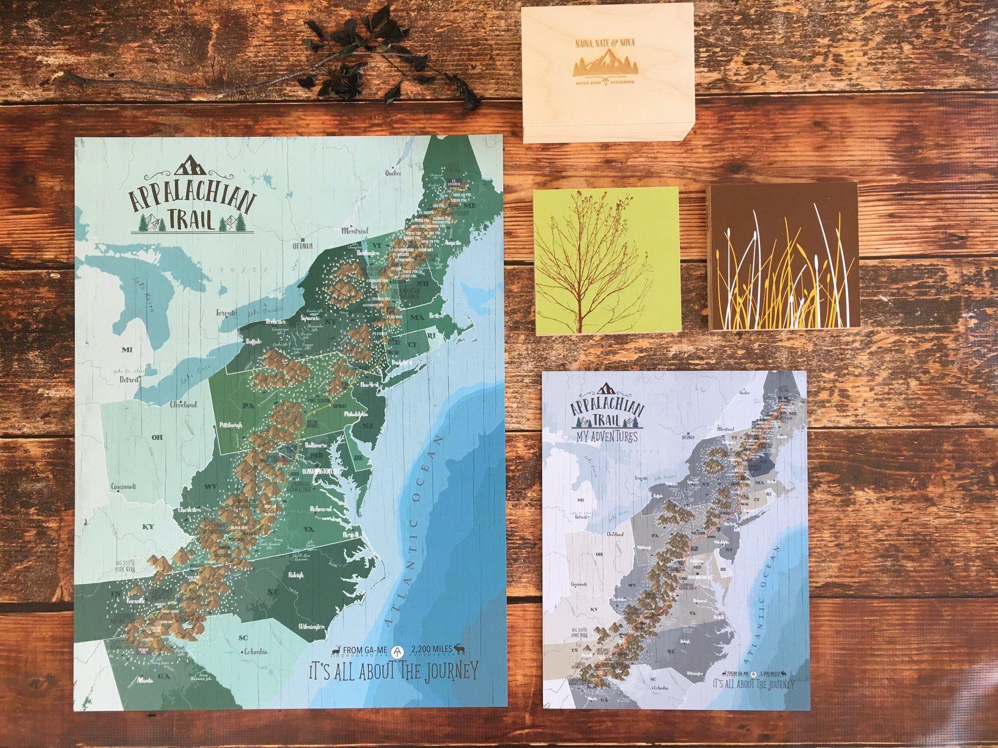 Appalachian Trail Map Hiking Map Outdoor Adventure Map Appalachian Mountain Rustic Decor Wilderness Wal Appalachian Trail Map Appalachian Trail Hiking Map