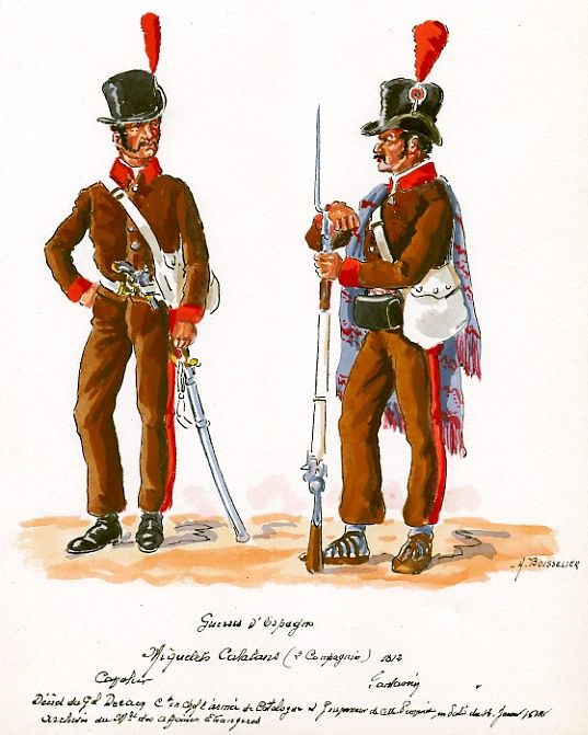 Spain Miquetes Catalanes In French Service Trooper And Infantryman In Spain Guerras Napoleonicas Uniformes Militares Militar