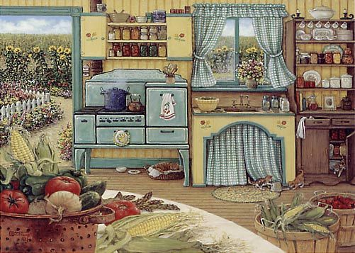 Vintage Farmhouse Kitchen what a romantic kitchen, sweet feeling! this is a painting of a