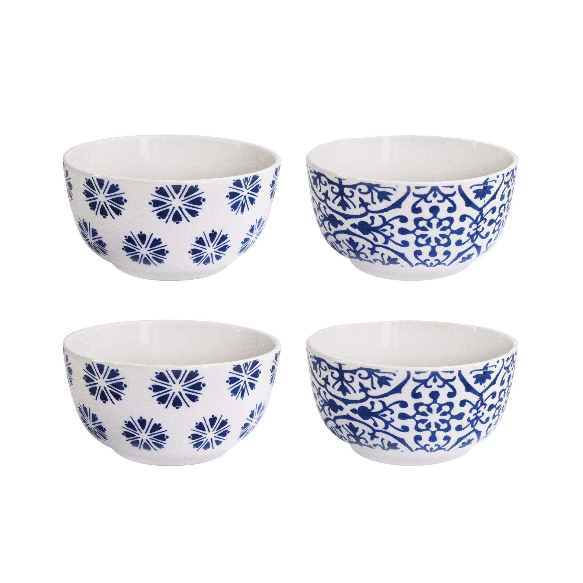 American Atelier Blue Floral White/Blue Earthenware Soup Bowls (Set ...