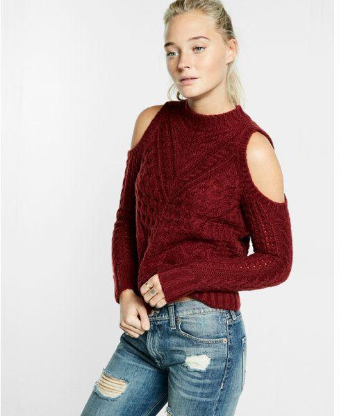 e48605d21 Express cold shoulder mock neck cable knit sweater