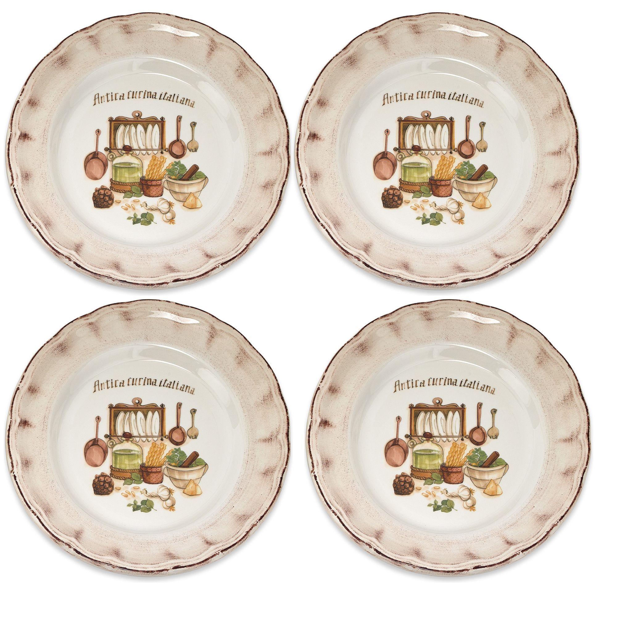 Lorren Home Trend Italian-made Cucina Italiana Dinner Plates (Set of 4) (4-piece Set) Beige (Ceramic Country)  sc 1 st  Pinterest & Lorren Home Trend Italian-made Cucina Italiana Dinner Plates (Set of ...