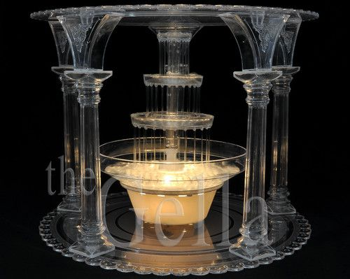 CLEAR 5 COLUMN WEDDING/PARTY SEPARATOR CAKE STAND with FOUNTAIN SET ...