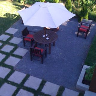 Loose Stone Patio With Staggered Pavers