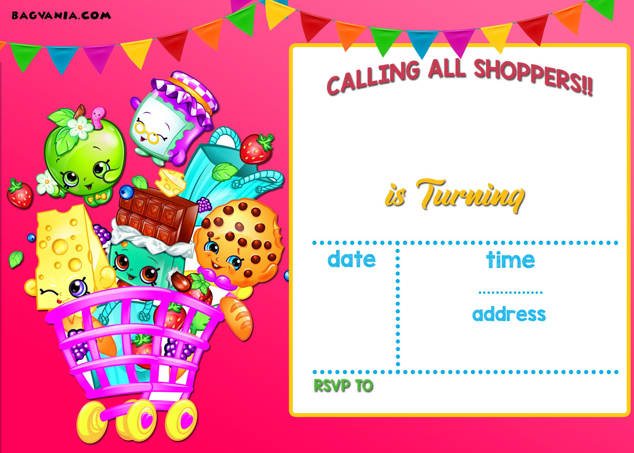 Free Calling All Shoppers Here Are Free Blank Shopkins Invitation
