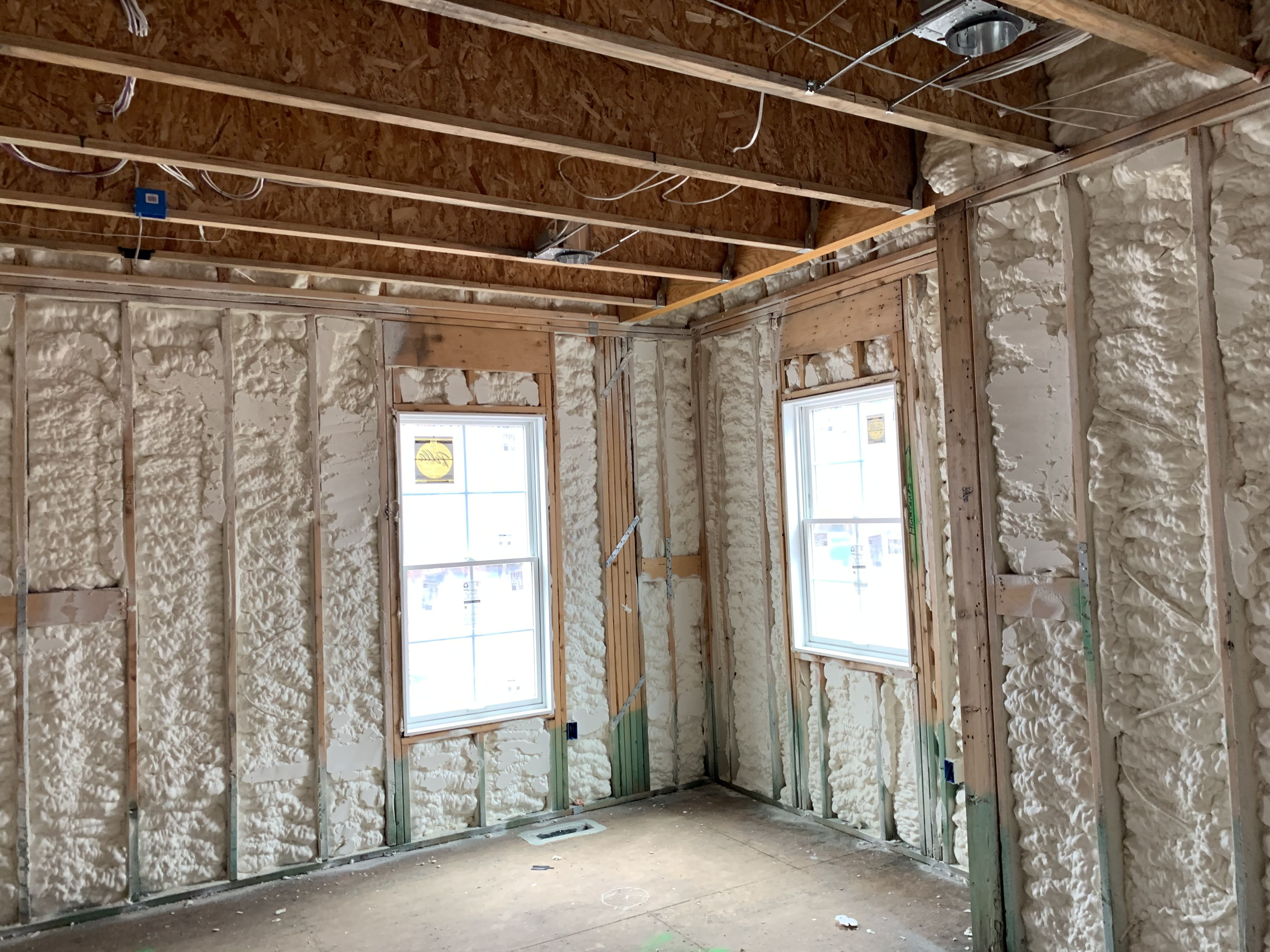 Open Cell Spray Foam Insulation Averaging 5 Inches On The Exterior