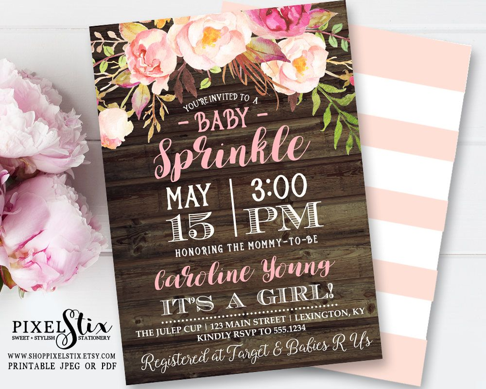 simple diy bridal shower invitations%0A Floral Baby Sprinkle Invitation  Floral Baby Shower Invitation  Pink  Flowers Rustic Invite  Shabby