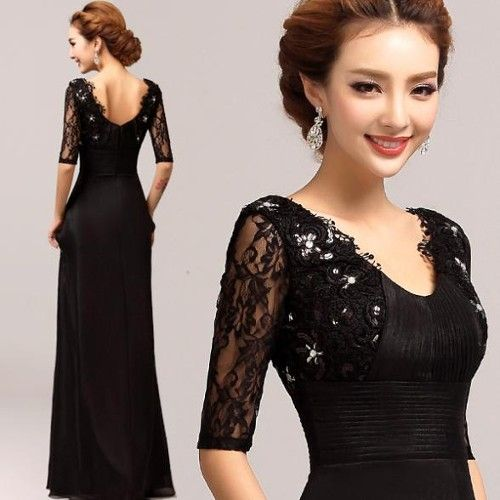Yarin Kollu V Yaka Uzun Dantel Islemeli Siyah Abiye Urunu Ozellikleri Ve En Uygun Fiyatlari Aksamustu Giysileri Uzun Mezuniyet Balosu Elbiseleri The Dress
