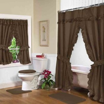 Brown Double Swag Shower Curtain W Available Window Curtain Double Swag Shower Curtain Curtains Green Shower Curtains
