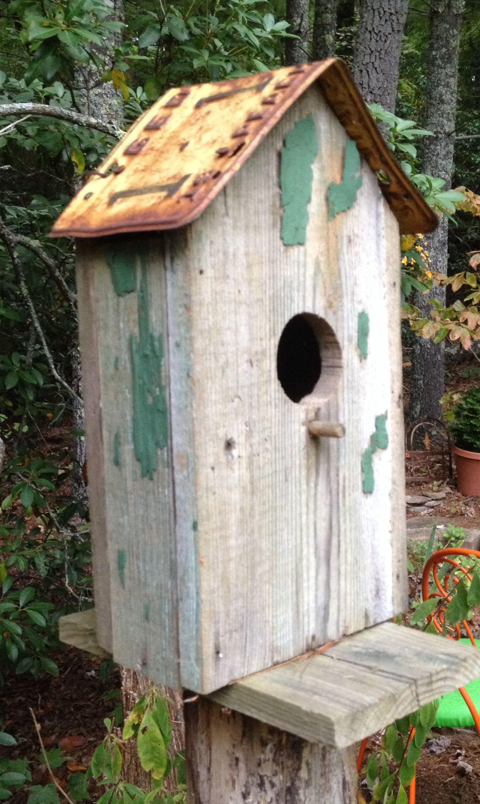Rustic Birdhouse With License Plate Roof