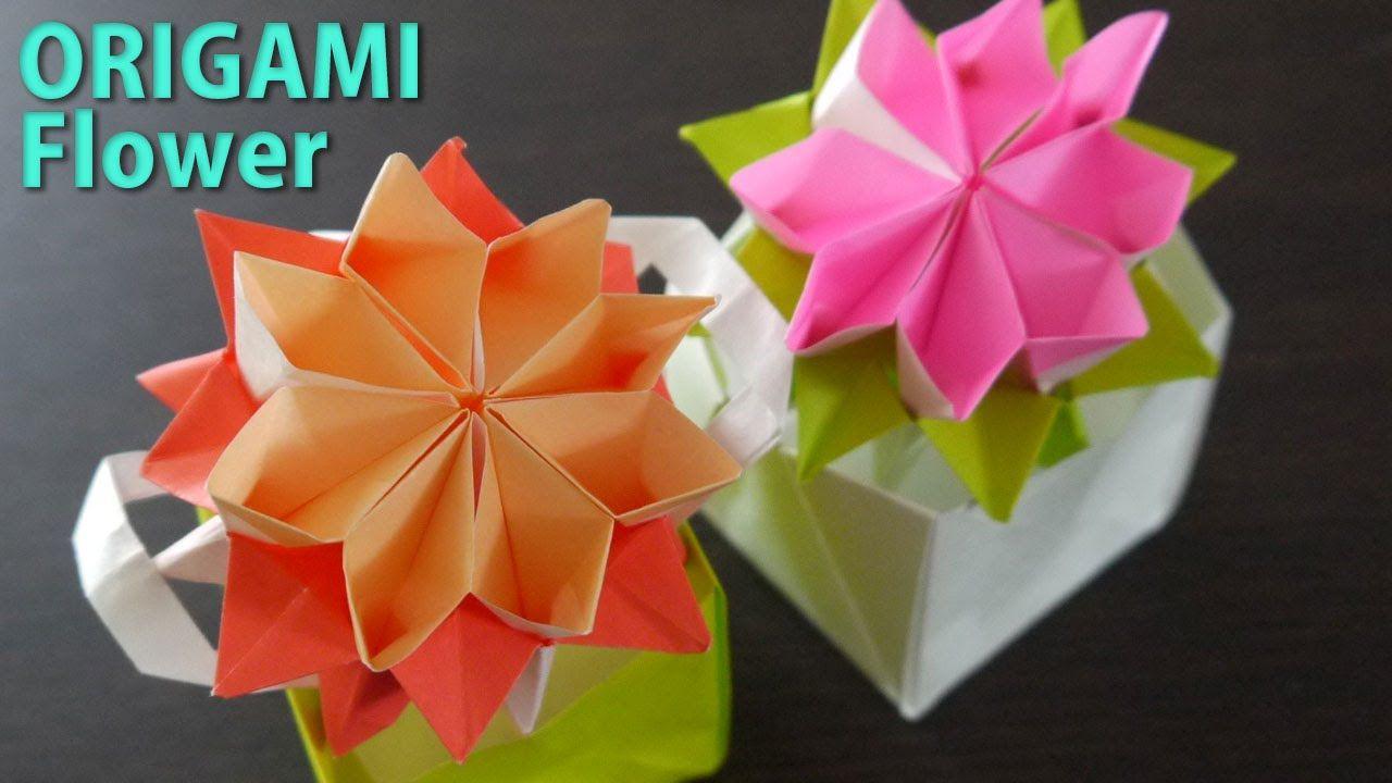 かわいい花の折り方 おりがみ2枚使います Origami 折り紙 折り紙 簡単 ペーパーフラワー おりがみ