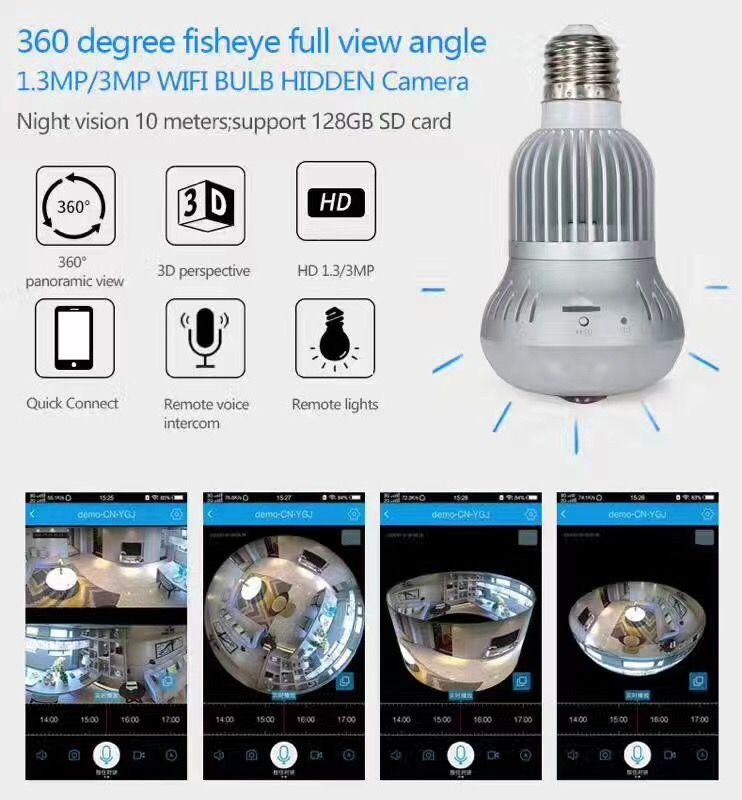 Wireless Light Bulb IP Camera Wi-fi FishEye 960P 360 degree Mini CCTV VR Camera
