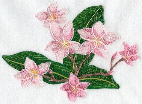 Frangipani flower bunch machine embroidery applique