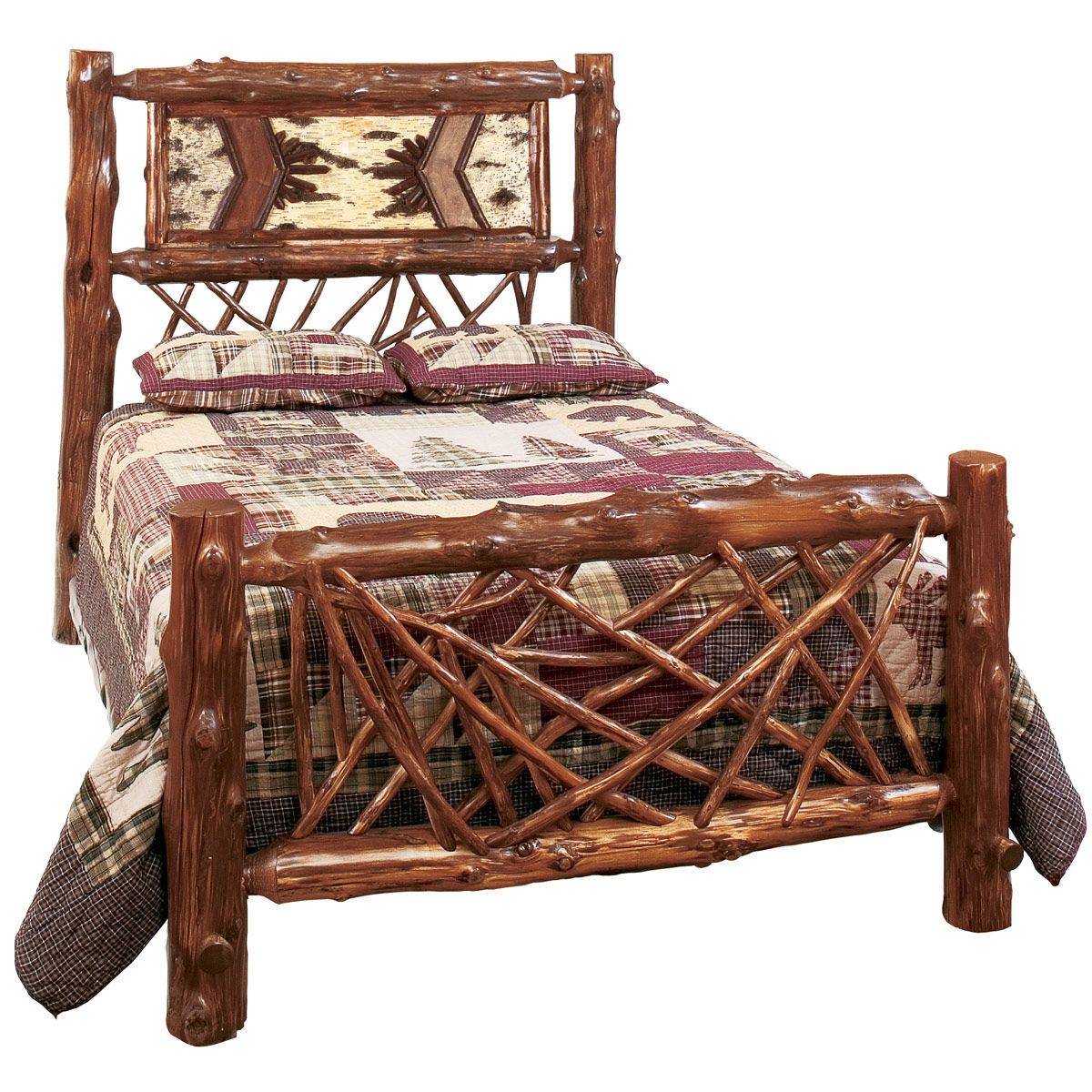 Country Western Style Bedroom Ideas with Rustic Varnished