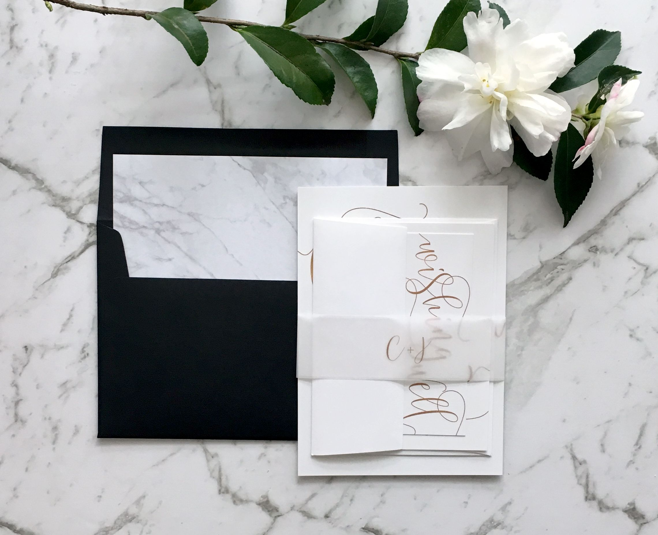 Rose Gold Wedding Invitation | Marble and Gold | Faux Foil Wedding ...