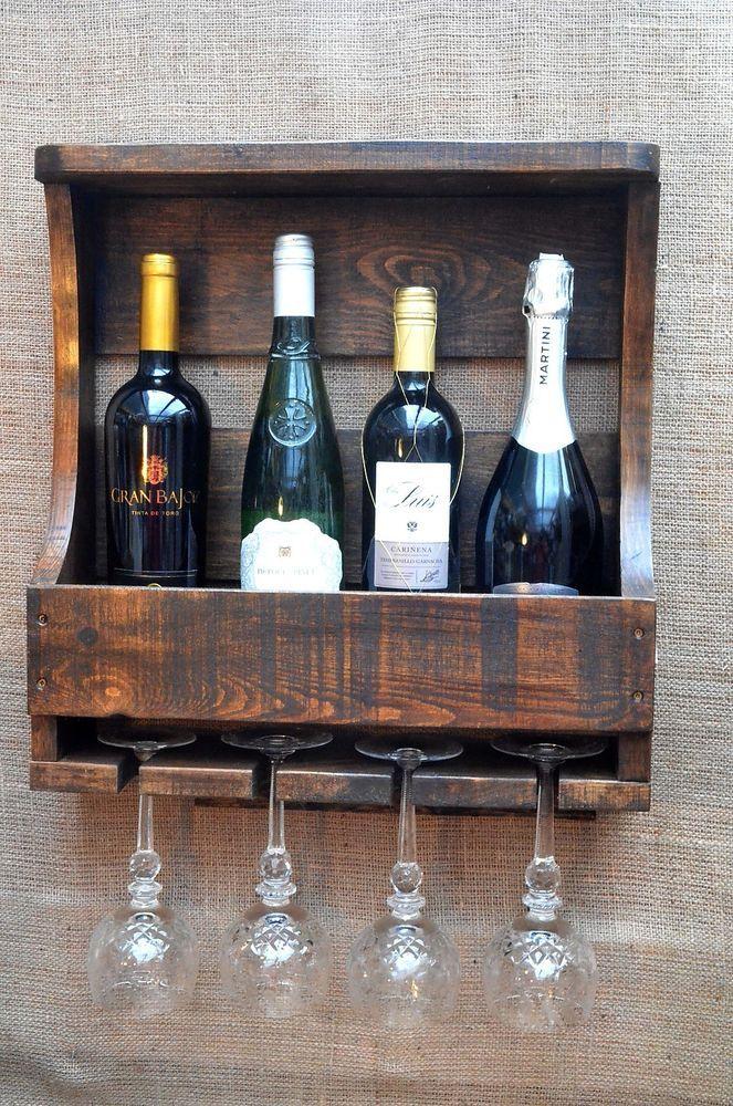 Wine Bottle And Wine Glass Holder Wall Mounted Reclaimed Timber Handmade Wine Racks Bottle Holders Wall Mounted Racks Bottle Holders