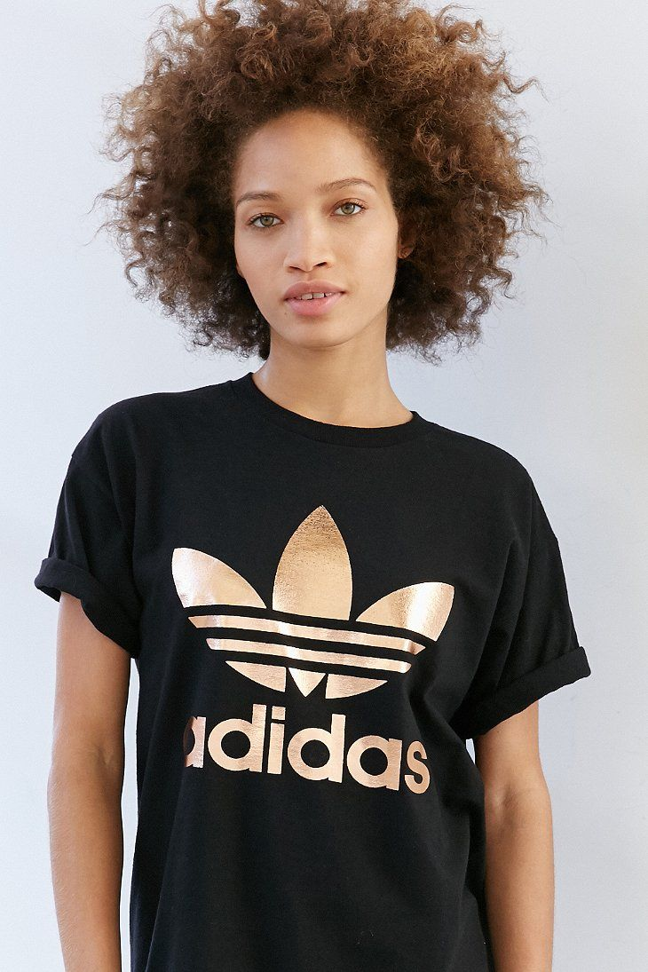 Adidas Originals Rose Gold Double Logo Tee With Images Adidas