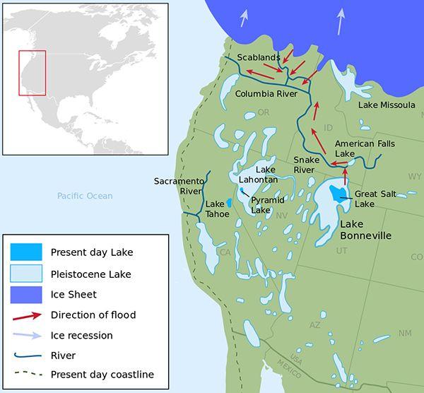Map Of Ice Age Lakes In US Southwest Ice Age Coastal Maps - Map us southwest