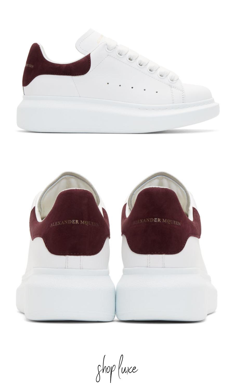 Sermón Temblar Estoy orgulloso  Alexander McQueen White and Burgundy Oversized Sneakers | Sneakers, Adidas  stan smith, Adidas stan