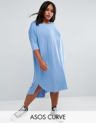 fe5474644a7 ASOS CURVE Oversize T-Shirt Dress with Curved Hem